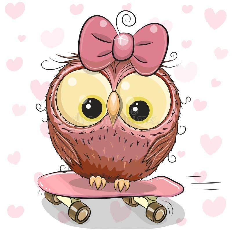 Menina bonito da coruja em um skate ilustração stock
