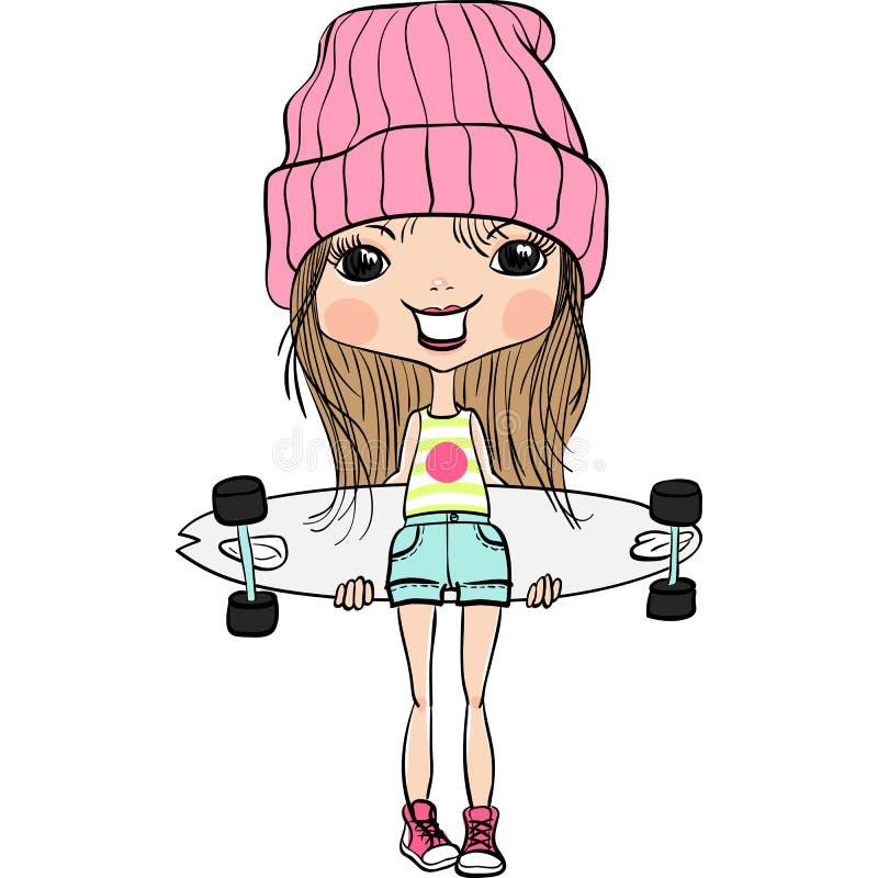 Menina bonito da forma do hipsterl do vetor com skate ilustração royalty free