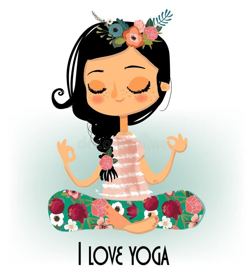 Menina bonito da ioga dos desenhos animados ilustração royalty free