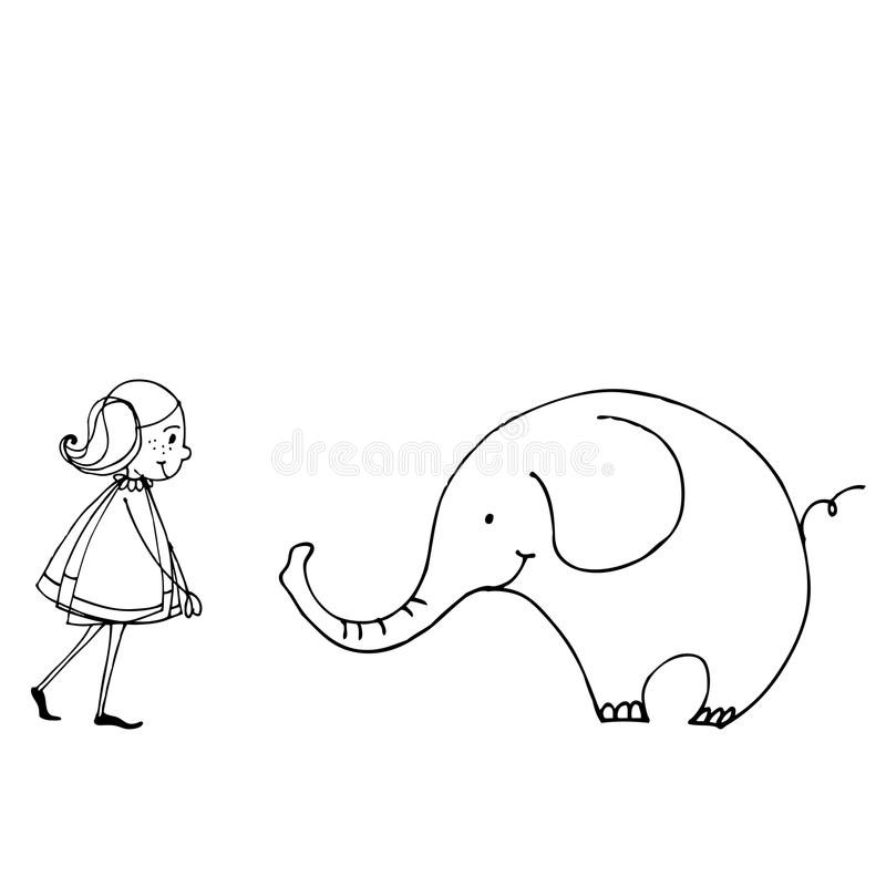 Menina bonito da mola com elefante ilustração stock