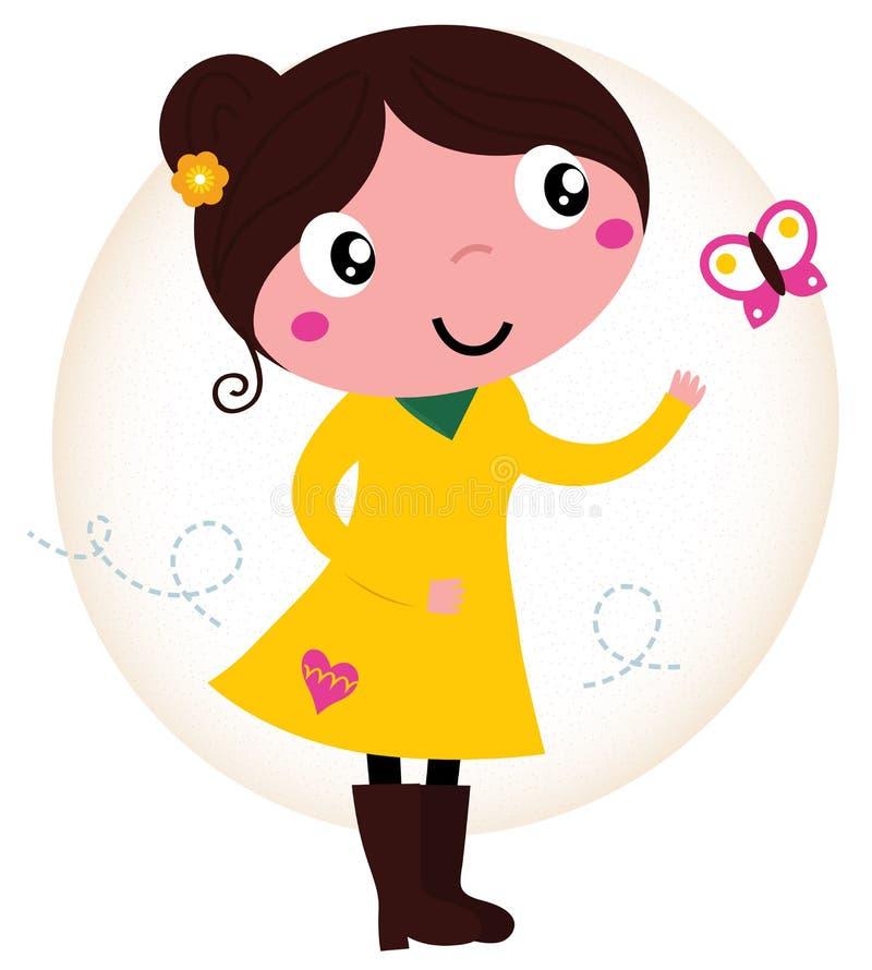 Menina bonito da mola retro no vestido amarelo com borboleta ilustração do vetor