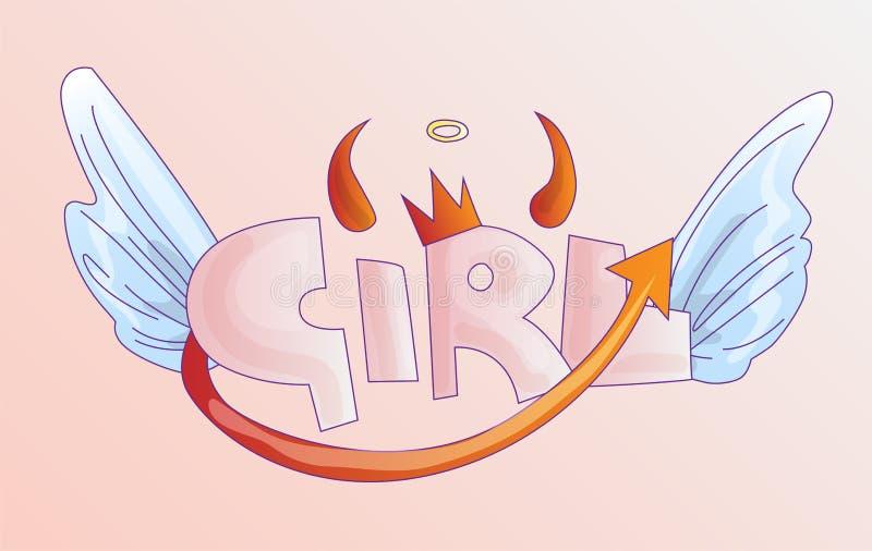 Menina bonito da palavra com coroa, chifres e cauda má e asas dos anjos no fundo cor-de-rosa pastel Coroa da princesa com menina  ilustração stock