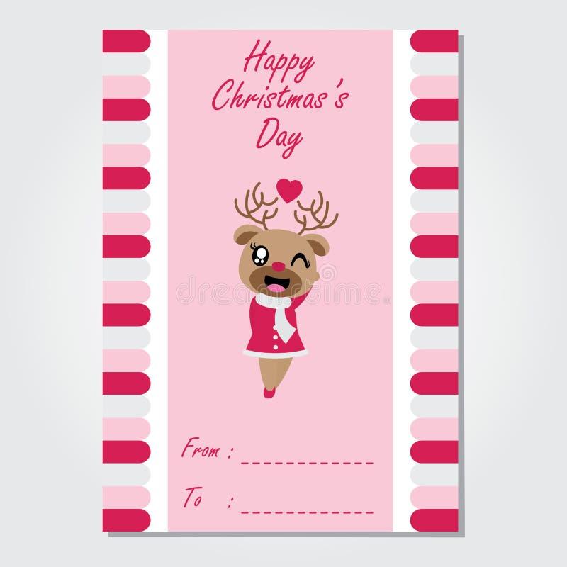 A menina bonito da rena está pisc na ilustração cor-de-rosa dos desenhos animados do fundo para o projeto de cartão do Natal ilustração stock