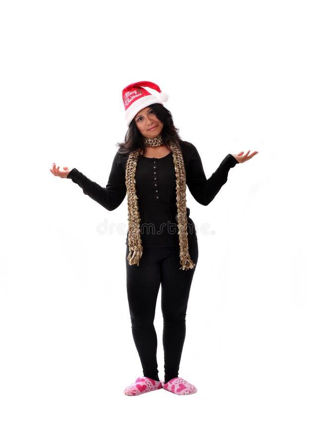 Menina bonito de latina em um chapéu de Santa foto de stock royalty free