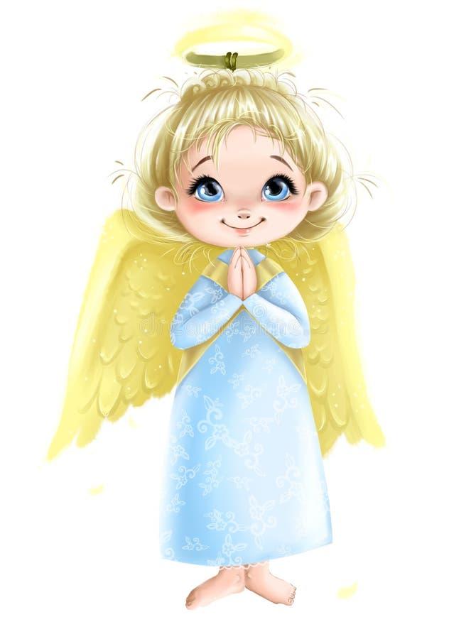 Menina bonito do anjo com asas que reza a ilustração ilustração do vetor