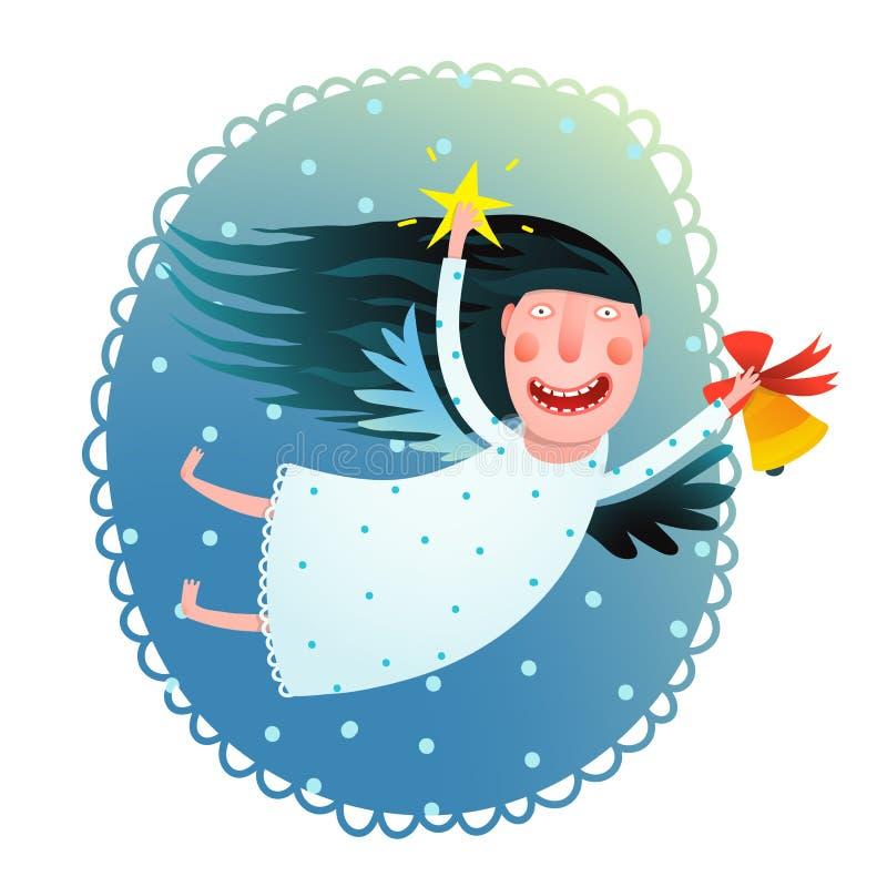 Menina bonito do anjo que guarda a estrela e o voo do sino no cartão do Feliz Natal da noite ilustração stock