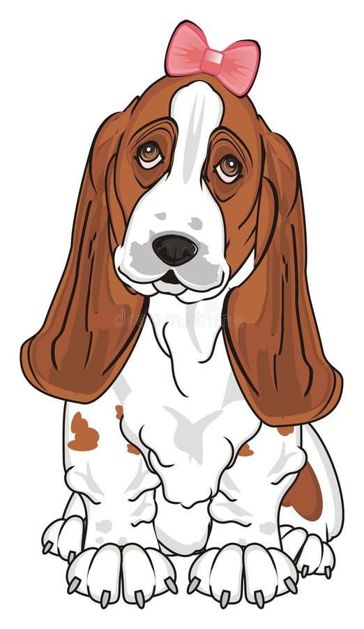 Menina bonito do cão ilustração do vetor