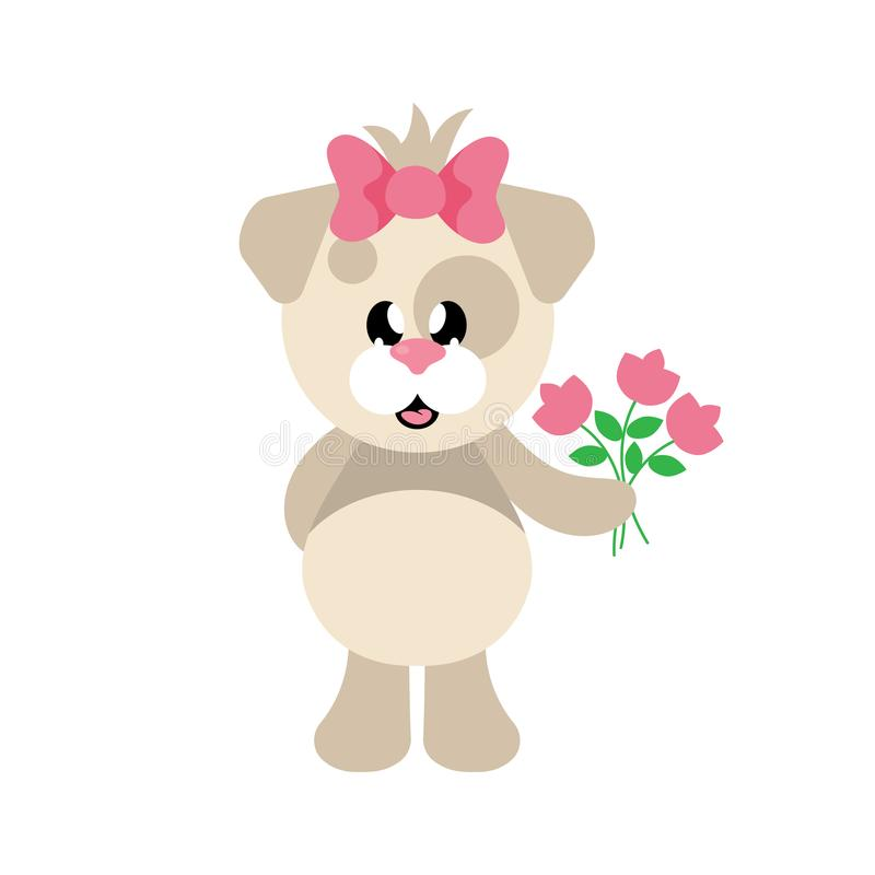 Menina bonito do cão dos desenhos animados com curva e flores ilustração royalty free