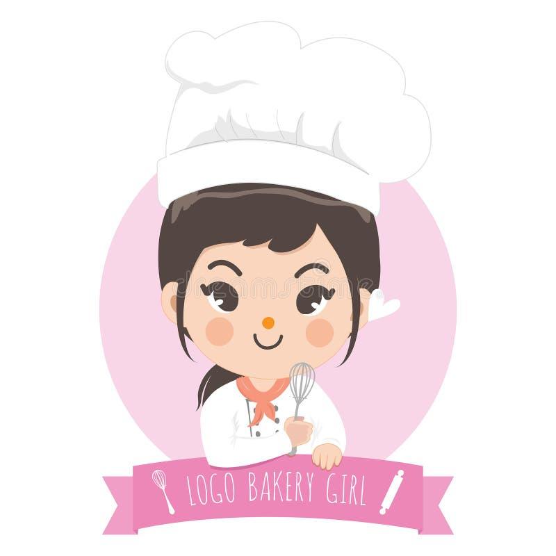 Menina bonito do cozinheiro chefe do bekery do logotipo ilustração do vetor