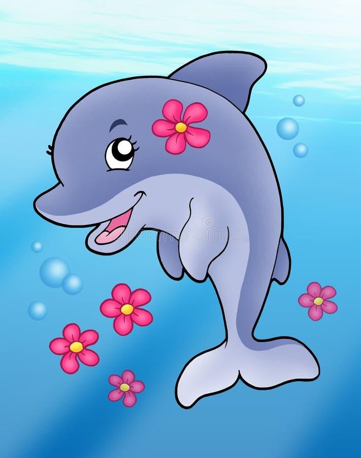 Menina bonito do golfinho no mar ilustração stock