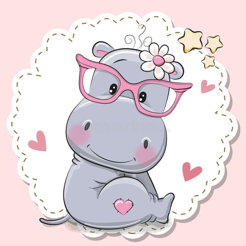 Menina bonito do hipopótamo em monóculos cor-de-rosa ilustração do vetor