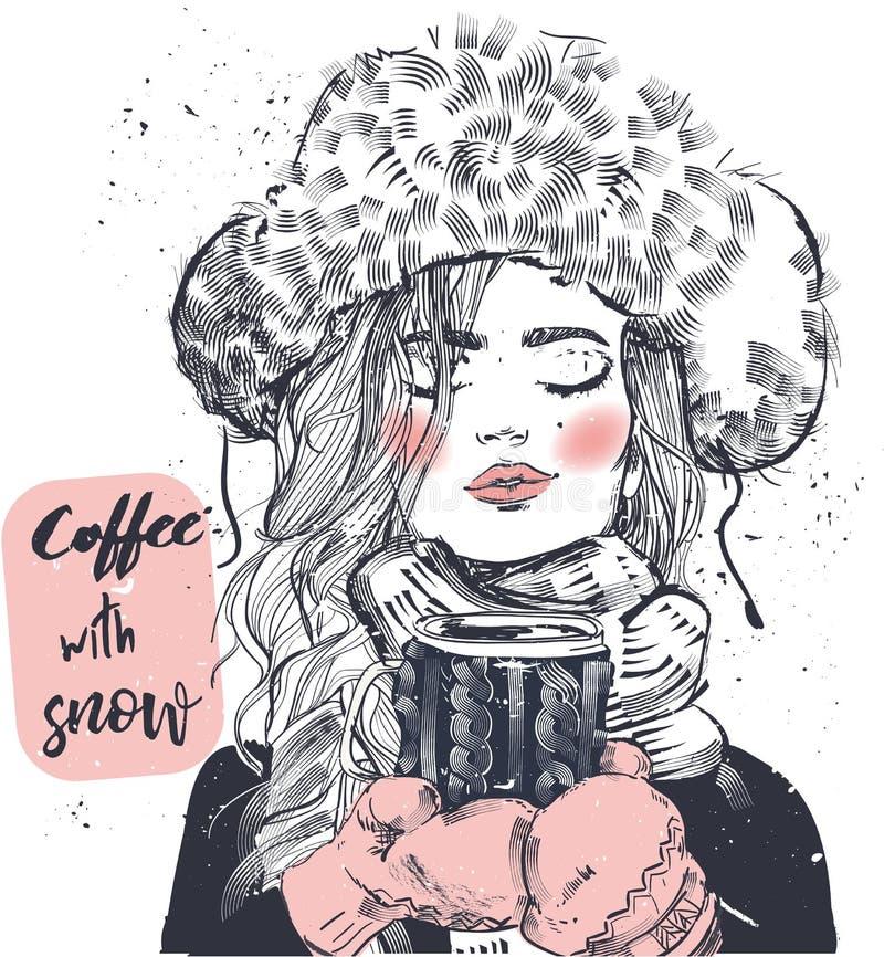 Menina bonito do inverno com copo de café ilustração do vetor