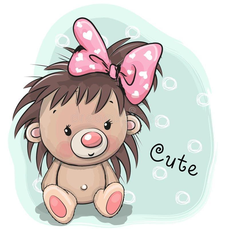 Menina bonito do ouriço do desenho em um fundo azul ilustração stock