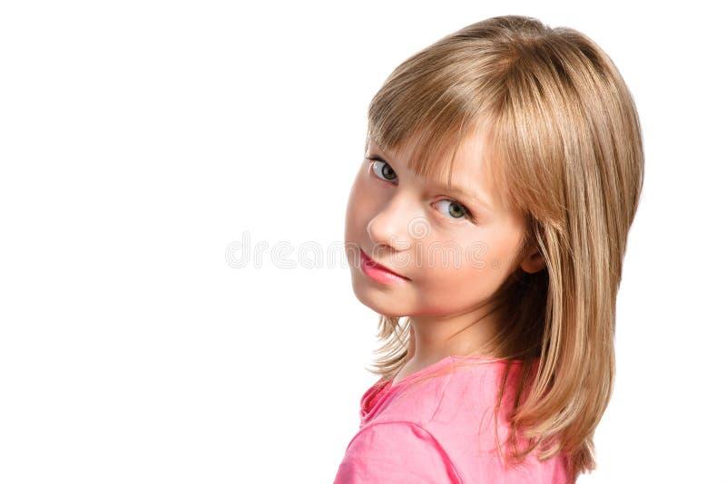 Menina bonito do preteen com hairdo à moda fotos de stock royalty free