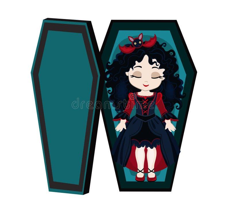 Menina bonito do vampiro dos desenhos animados engraçados que dorme em seu caixão ilustração royalty free