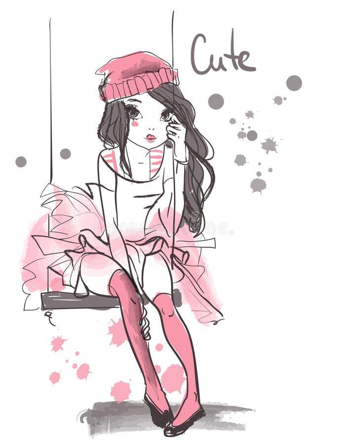 Menina bonito do verão com chapéu ilustração royalty free