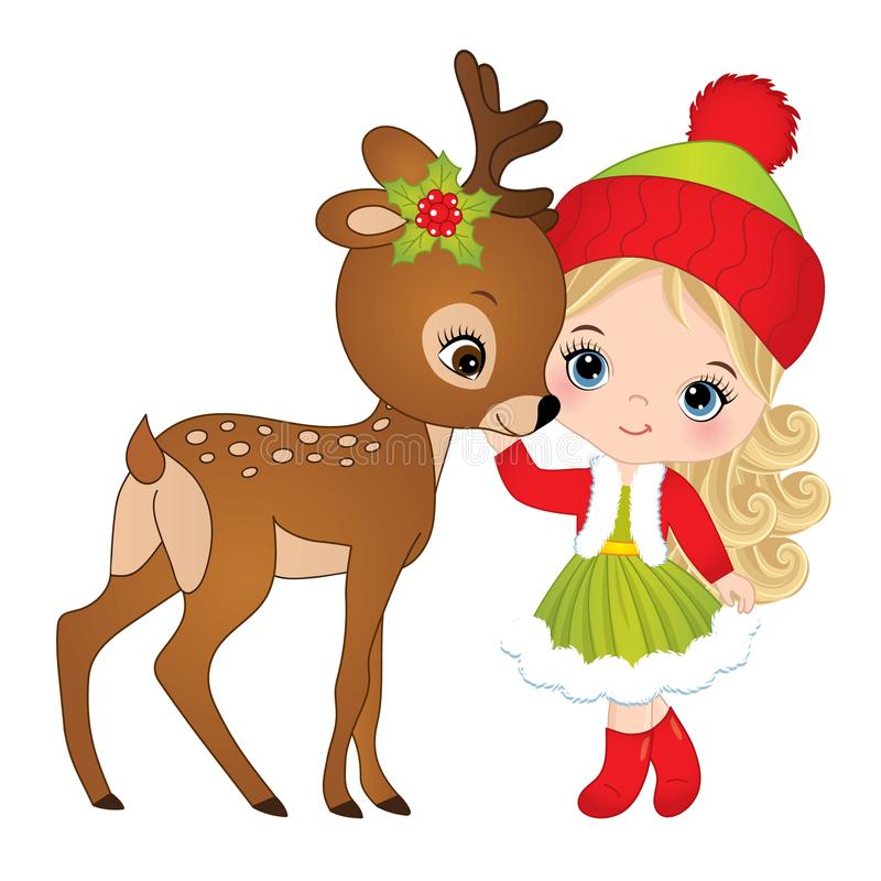 Menina bonito do vetor com cervos do bebê ilustração royalty free