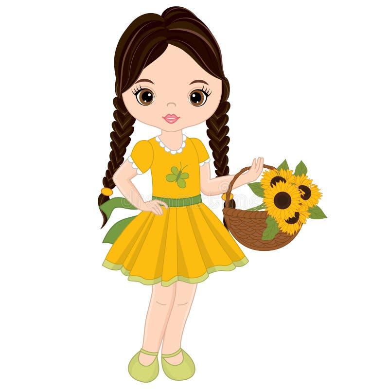 Menina bonito do vetor com a cesta dos girassóis ilustração do vetor