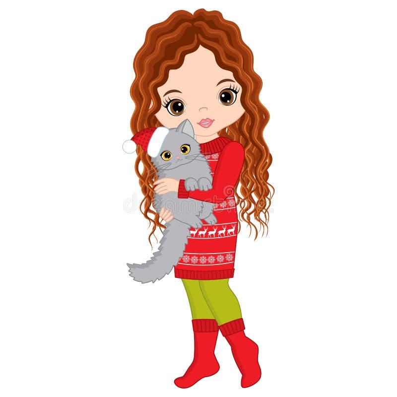Menina bonito do vetor com gato Menina do Natal do vetor ilustração do vetor
