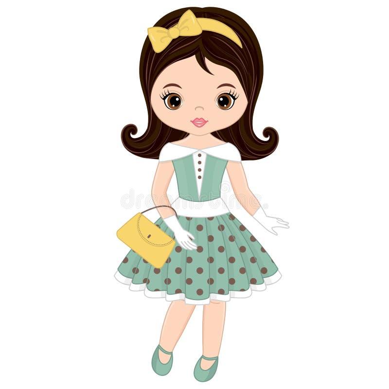 Menina bonito do vetor no estilo retro ilustração royalty free