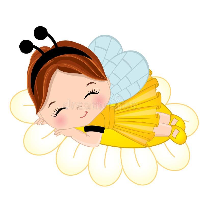 Menina bonito do vetor que dorme na flor ilustração stock