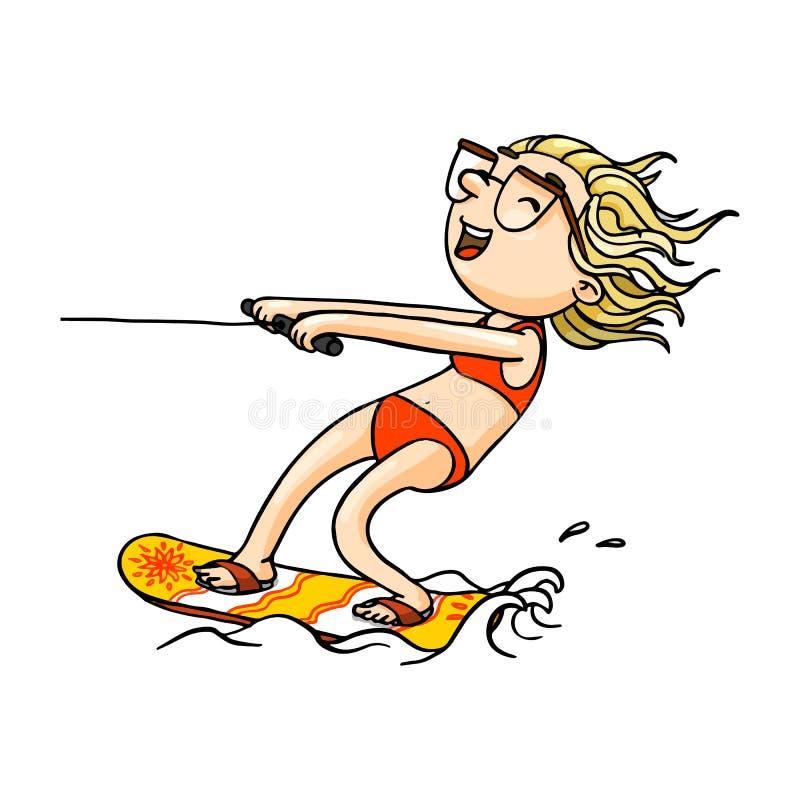 Menina bonito do wakeboard dos desenhos animados no roupa de banho que faz wakeboarding Caráter tirado mão isolado vetor ilustração do vetor