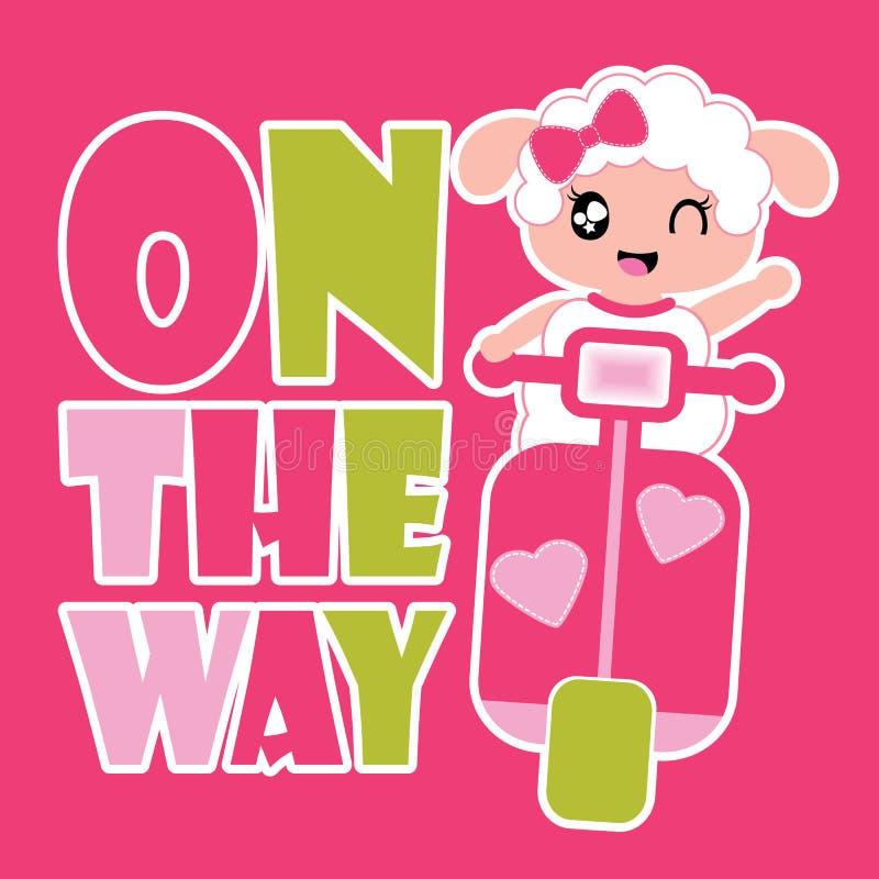 A menina bonito dos carneiros conduz a ilustração dos desenhos animados do vetor da motocicleta para o projeto da camisa da crian ilustração royalty free