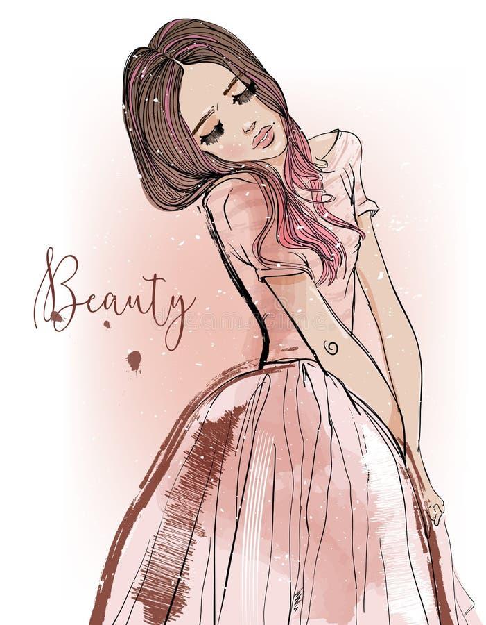 Menina bonito dos desenhos animados ilustração royalty free