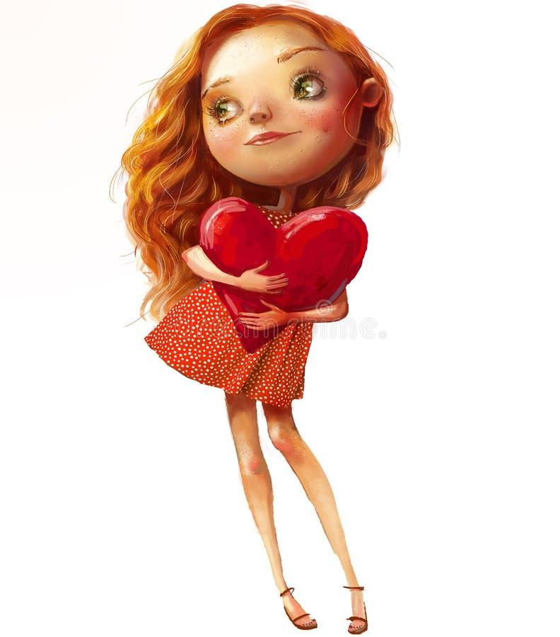 Menina bonito dos desenhos animados com cabelos do rad com um coração ilustração do vetor