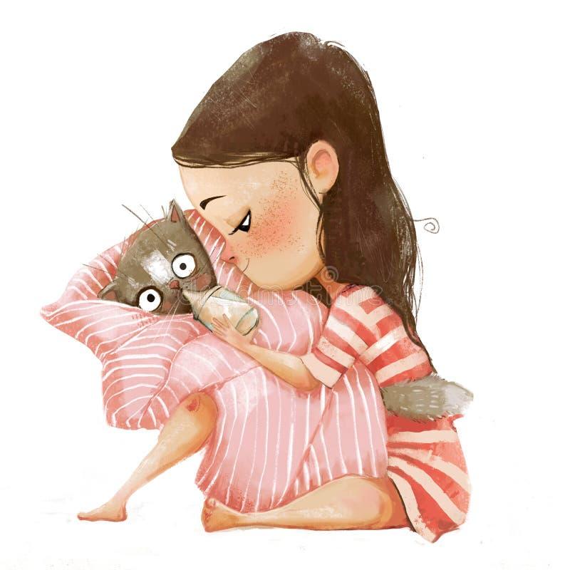 Menina bonito dos desenhos animados com gato ilustração do vetor