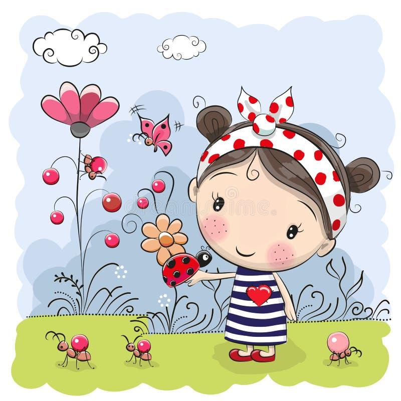 Menina bonito dos desenhos animados com joaninha ilustração do vetor
