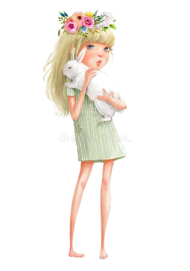 Menina bonito dos desenhos animados com lebre ilustração do vetor