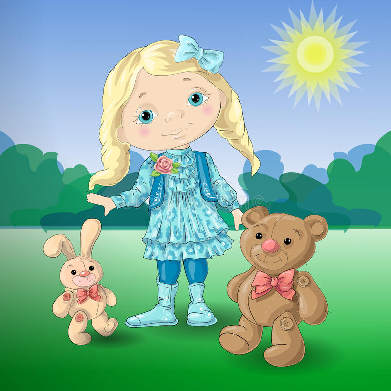 Menina bonito dos desenhos animados com o urso e o coelho de peluche dos brinquedos ilustração do vetor