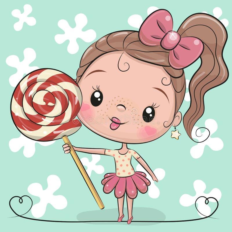 Menina bonito dos desenhos animados com pirulito ilustração stock