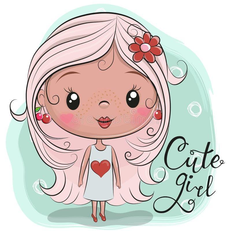 Menina bonito dos desenhos animados com uma flor ilustração do vetor