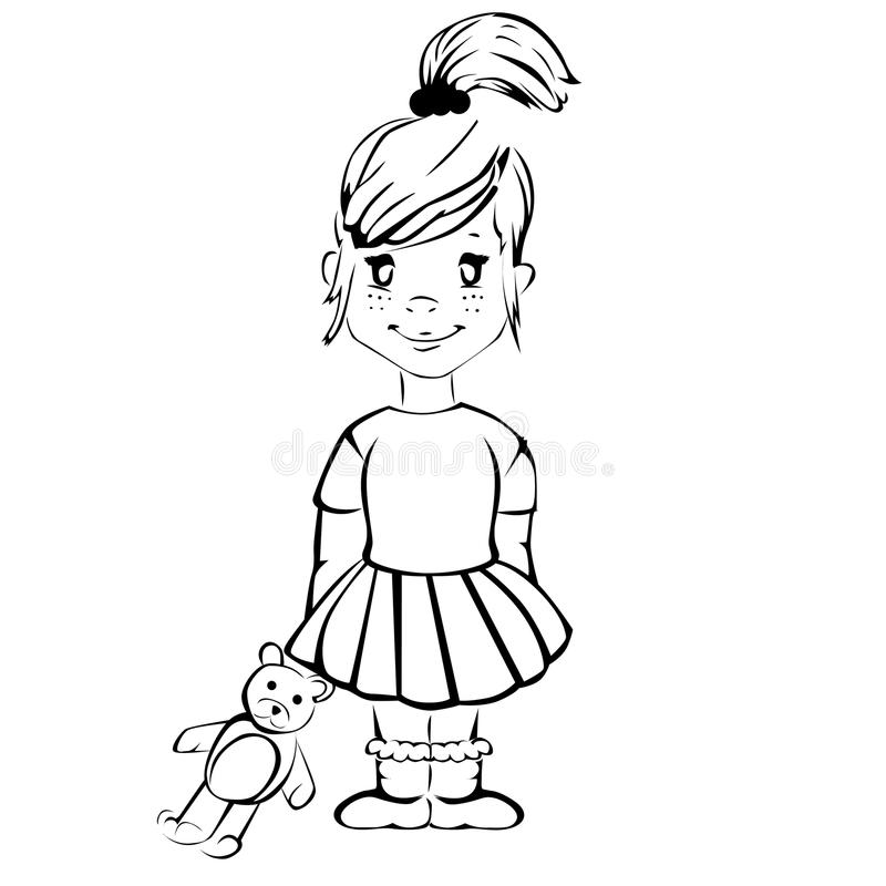 Download Menina Bonito Dos Desenhos Animados Com Urso De Peluche Ilustração do Vetor - Ilustração de arte, animal: 29841502