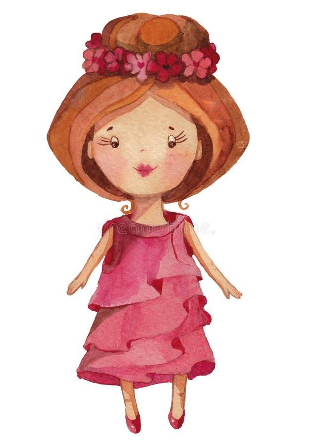 Menina bonito dos desenhos animados da aquarela ilustração royalty free