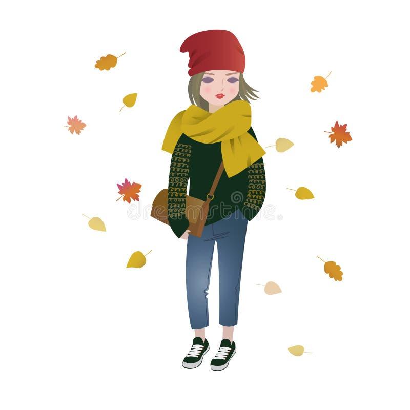 Menina bonito dos desenhos animados da forma que veste o equipamento na moda do outono ilustração stock