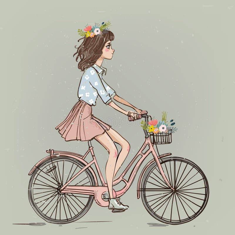 Menina bonito dos desenhos animados na bicicleta ilustração royalty free