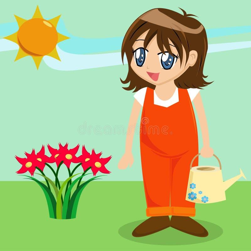 Menina bonito dos desenhos animados no jardim ilustração royalty free