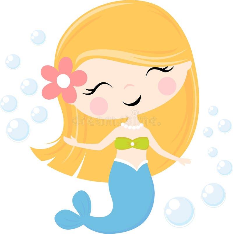 Menina bonito e bolhas da sereia ilustração royalty free