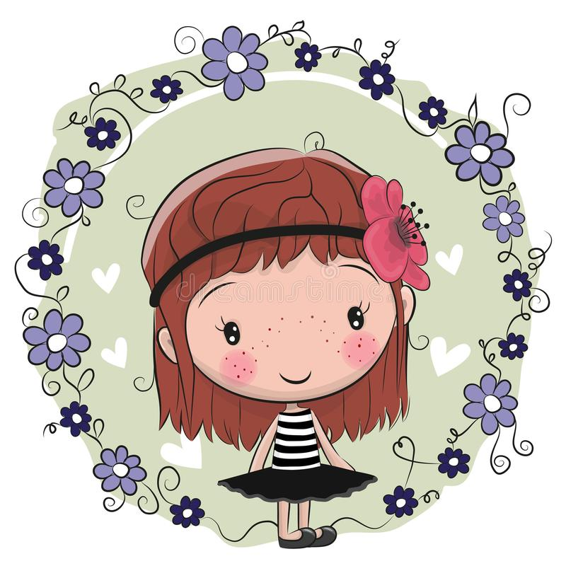 Menina bonito e flores dos desenhos animados ilustração do vetor
