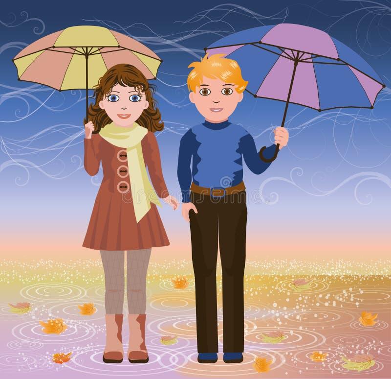 Menina bonito e menino com guarda-chuva ilustração royalty free