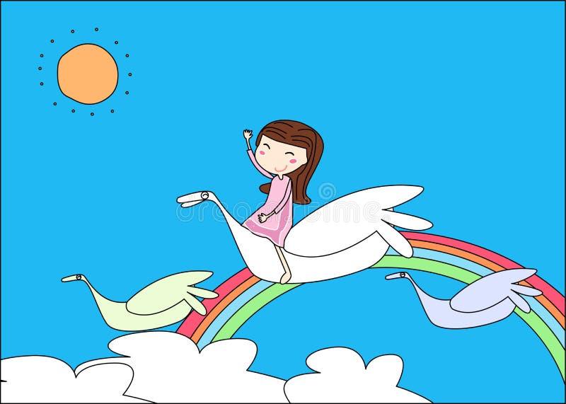 Menina bonito e pássaro ilustração royalty free
