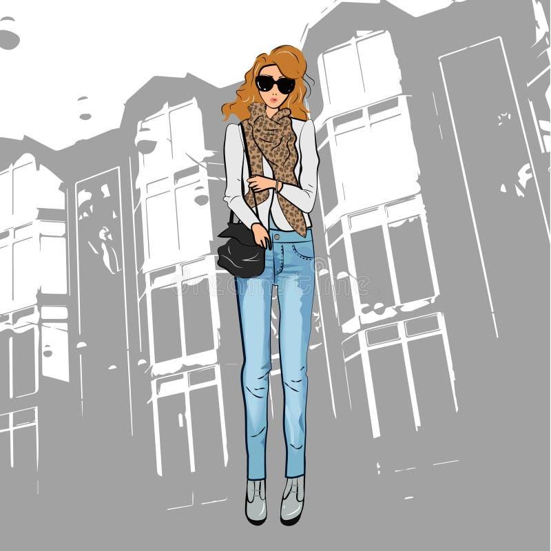 Menina bonito elegante em um revestimento, na calças de calças de ganga, nos óculos de sol e nas botas do tornozelo ilustração stock