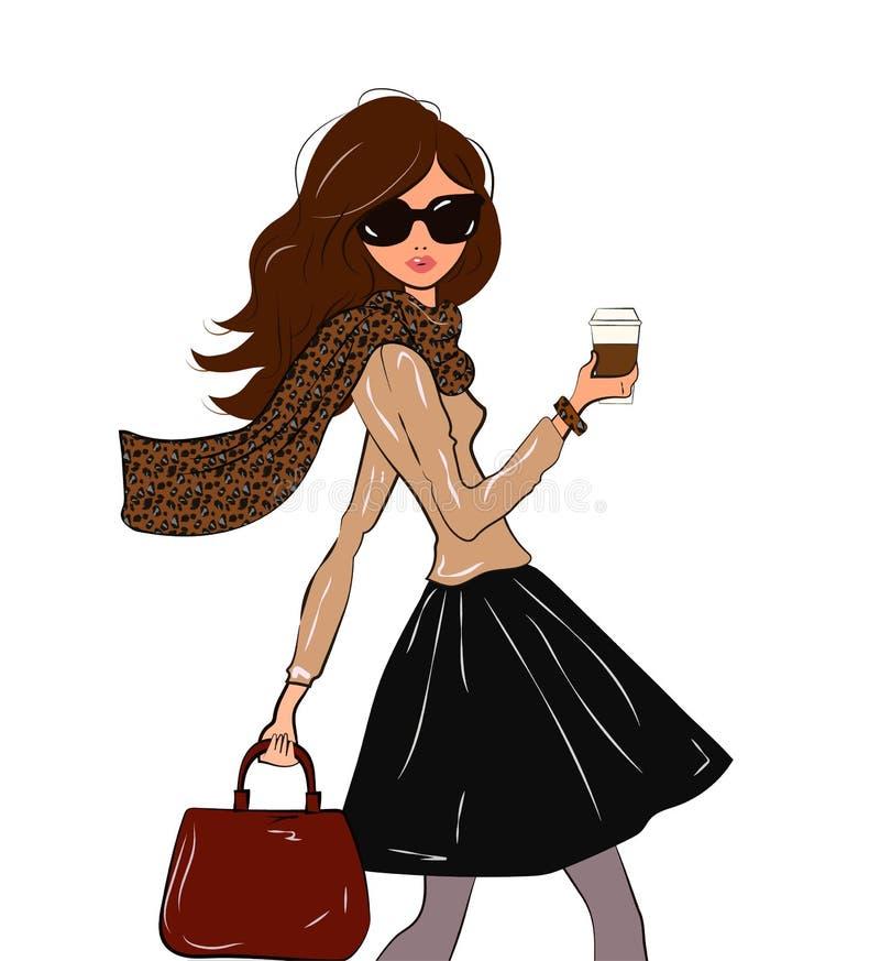 Menina bonito elegante no lenço com cópia do leopardo e saia de midi do preto com um café em sua mão que anda abaixo do ilustração royalty free
