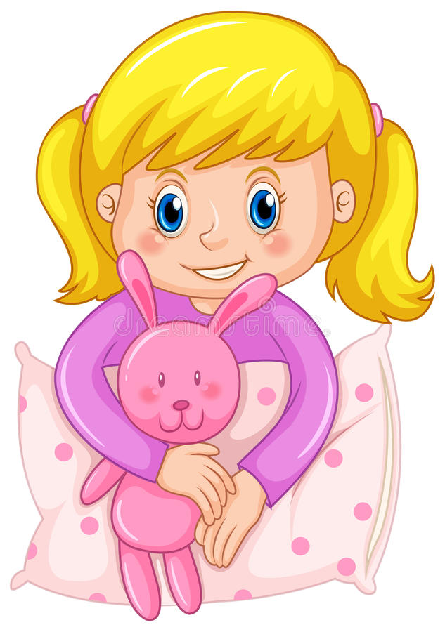 Menina bonito em pijamas roxos ilustração stock