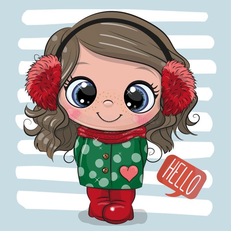 Menina bonito em um revestimento e em fones de ouvido da pele ilustração stock