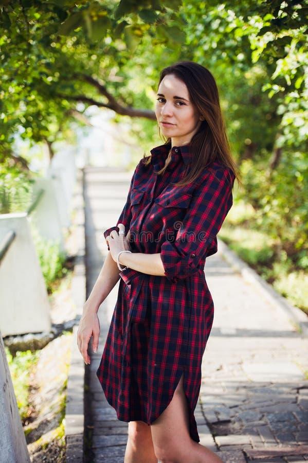 Menina bonito em um vestido quadriculado no parque do verão fotografia de stock