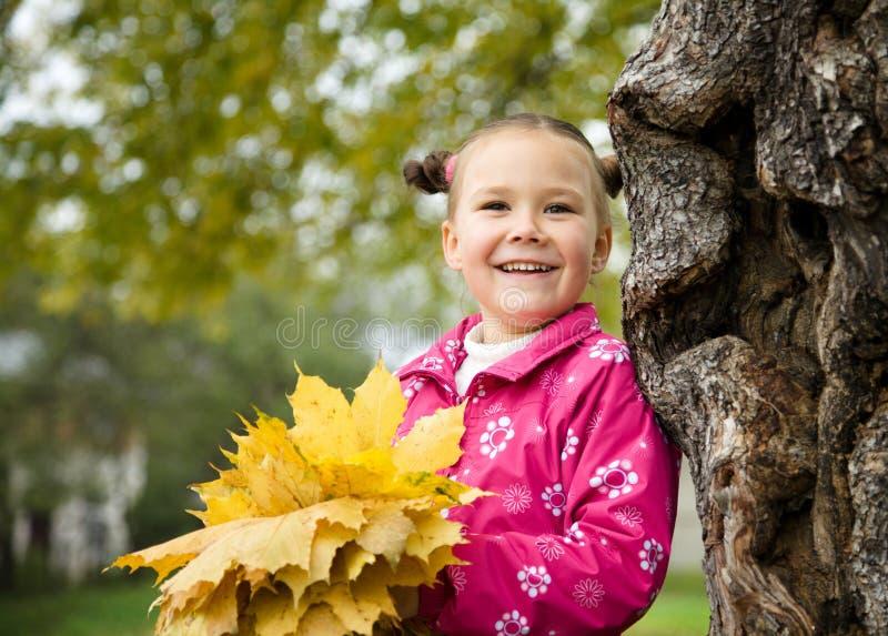A menina bonito está jogando com as folhas no parque imagem de stock royalty free